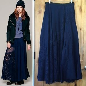 FREE PEOPLE Blue Patchwork Lace Maxi Skirt EUC L